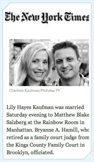 New York Times Wedding Announcement.New York Times Wedding Reception Erik Marshall Band Hank Lane Music